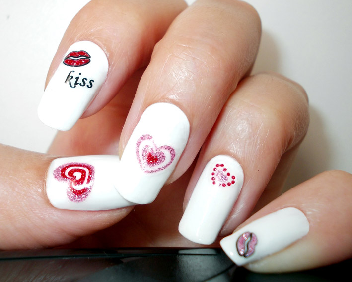 Valentines day Nail Art Stickers White