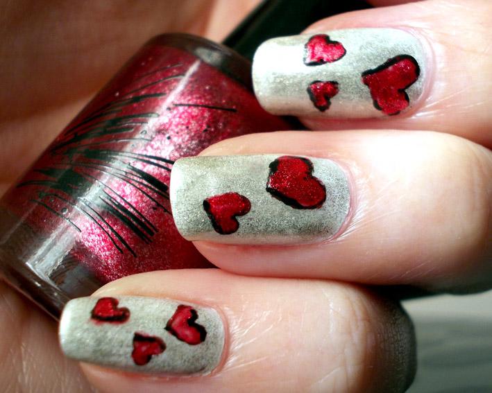 Vday hearts Nail Art closeup