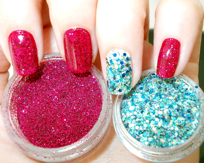 Red Blue Glitter Nail Art step two