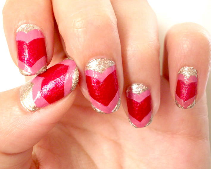 Valentines day Nail Art pink red step six