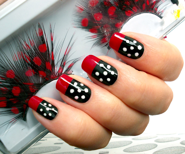 Red White Black Polka Dots Nail Art
