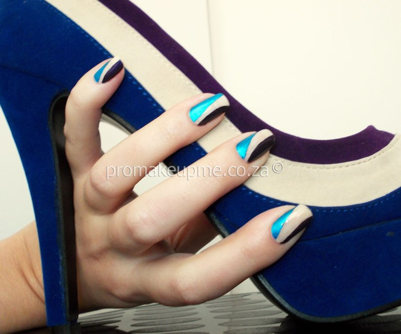 Blue Purple Cream Colour Blocking Nail Art