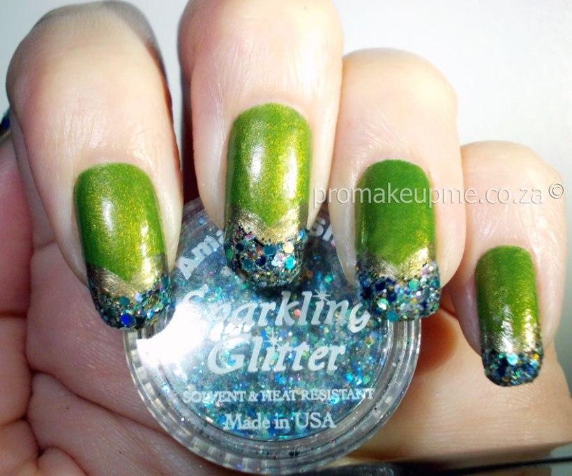 Green Gold Glitter Nail Art step three