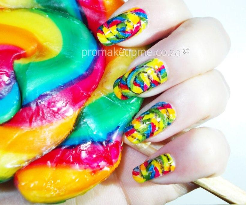 Rainbow Candy Lollipop Nail Art