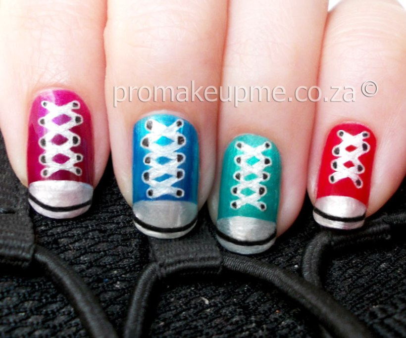 Colourful Converse Sneakers Nail Art