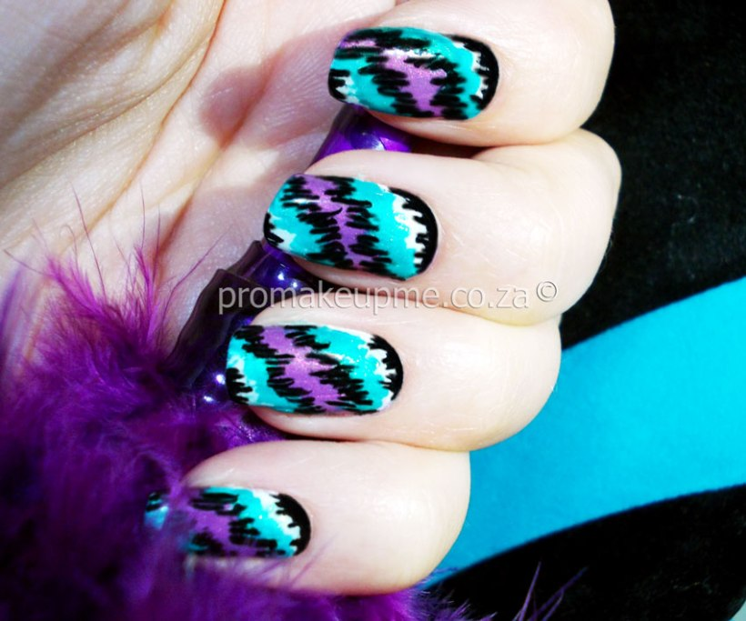 Pop Culture Purple White Teal Nail Art