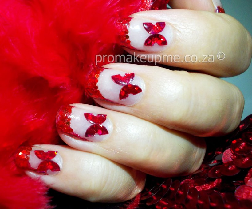 Red Glitter Sequin Butterflies Nail Art