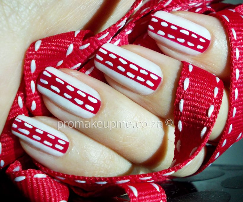Red Wedding Ribbon Nail Art