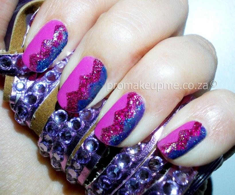 Glitter Chevron Nail Art