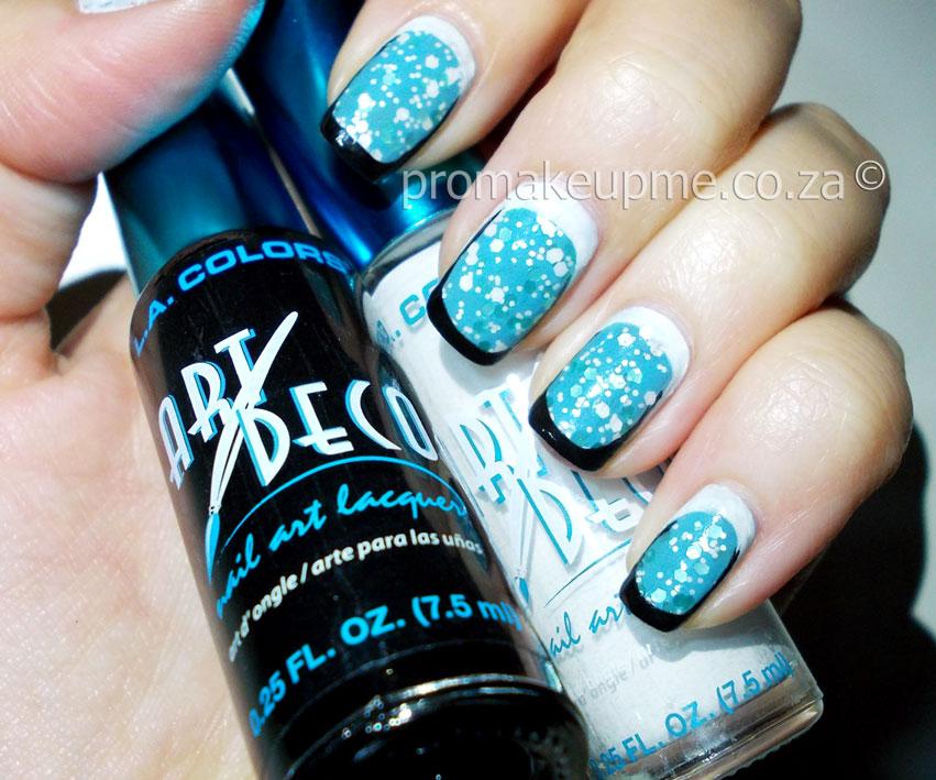 Light Blue Splatter With Black White Borders Nail Art Promakeupme
