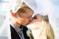 Amy Wedding MakeUp Newlyweds Kiss